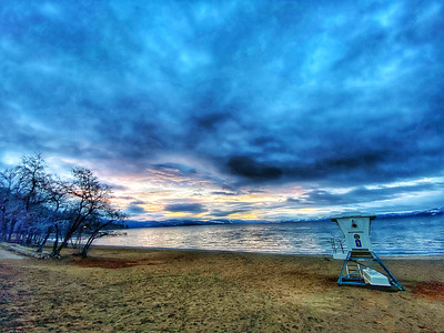 Lifeguard tower at sunrise on the beach of Lake Tahoe in Kings Beach