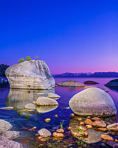 """Afterglow,"" Alpenglow at Dusk over Bonsai Rock, Bonsai Rock, Lake Tahoe, Nevada"