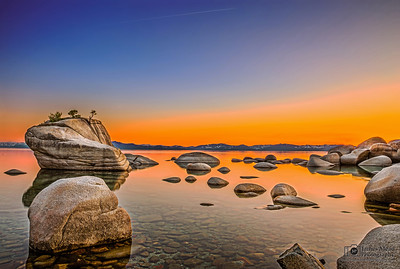 """Horizons of Peace,"" Lake Tahoe Sunset Over Bonsai Rock, Lake Tahoe, Nevada"