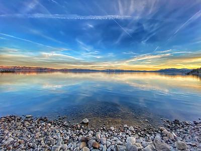 Sunset view of Lake Tahoe from Tahoe City Beach
