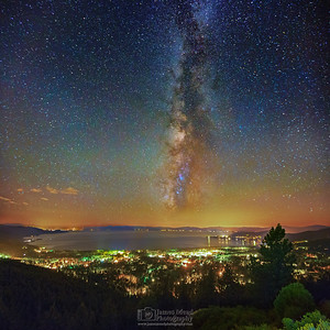 """Galactic City,"" The Milky Way over Incline Village and Lake Tahoe,"" Lake Tahoe Milky Way, Lake Tahoe Nevada"