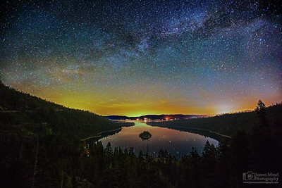 """Alone in the Bay,"" the Milky Way over Emerald Bay, Emerald Bay State Park, Lake Tahoe, California"