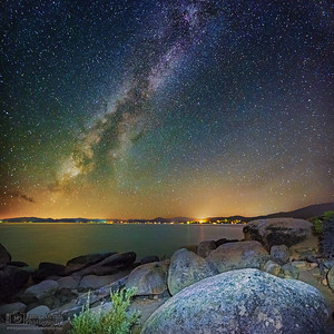 """Night on the Rocks,"" Lake Tahoe Milky Way, Lake Tahoe, Nevada"