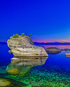 """Luminous Clarity,"" Nautical Dusk over Bonsai Rock, Lake Tahoe, Nevada"