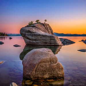 """Crystal Reflections,"" Bonsai Rock Sunset, Lake Tahoe, Nevada"