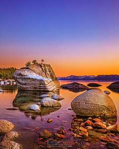 """Sierra Jewel,"" Sunset Reflections over Bonsai Rock, Lake Tahoe, Nevada"