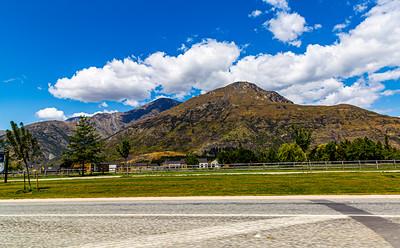 Southern Alps , Ka tiritiri o te Moana,  outside  Queenstown, Otago, South Island, New Zealand, on the way to Wanaka on a crazy beautiful sky day