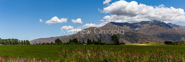 Panorama Southern Alps , Ka tiritiri o te Moana,  outside Queenstown, Otago, South Island, New Zealand, on the way to Wanaka on a crazy beautiful sky day