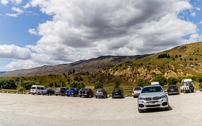 Panorama Car park. overlook, Southern Alps , Ka tiritiri o te Moana,  just outside  Queenstown, Otago, South Island, New Zealand, on the way to Wanaka on a crazy beautiful sky day