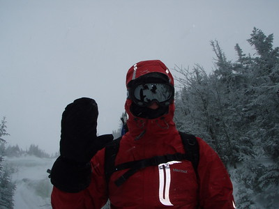 Wind chills were now below zero so we put on our goggles. Any exposed flesh would put us in danger of frostbite. Visibility dropped to about 50 feet between the snow falling, blowing snow and the clouds/fog.