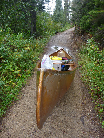 at the beginning of the 2.5 km long portage