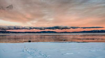 snow-lake-clouds-sunset-glow