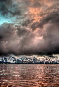 mountains-lake-clouds-sunset