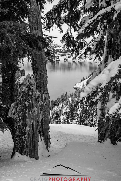 Crater Lake Oregon snow 10 in Black and White