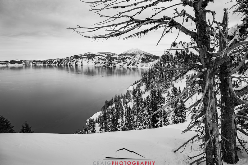 Crater Lake Oregon snow 8 in Black and White
