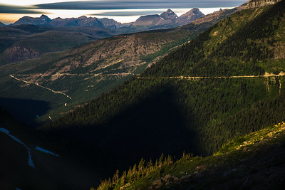 Moonrise over Highway to the Sun Glacier National Park