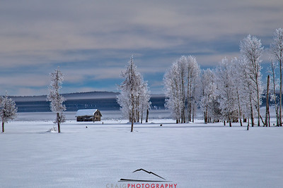 Cabin and snow, Klamath Valley, Oregon
