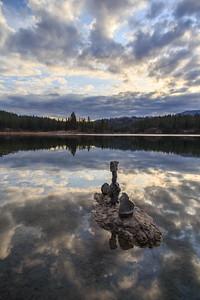 Mahoney Lake Golden Hour Autumn 2019 - Vertical