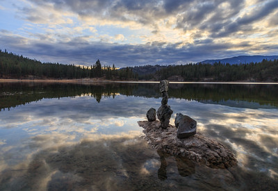 Mahoney Lake Golden Hour Autumn - Rock Balancing