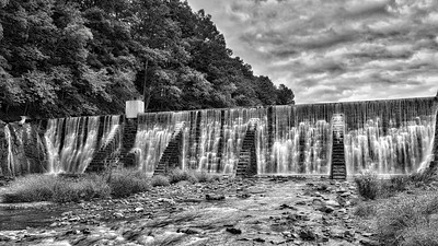 Lake Solitude Dam in Black and White