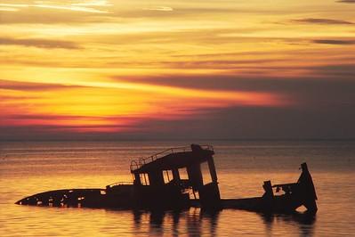 Afterglow #2:  Pushboat on the edge of Lake Maurepas, Manchac, LA