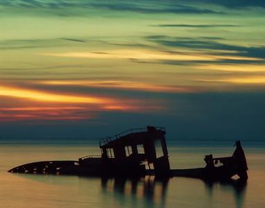 Afterglow:  Pushboat on the edge of Lake Maurepas, Manchac, LA