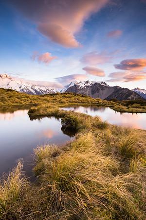 Aoraki Mount Cook from McNulty's Tarns