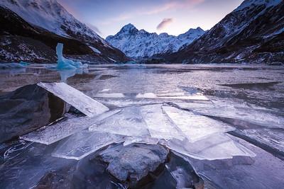 Ice on shore of Hooker Lake, Hooker Valley, Aoraki Mount Cook National Park