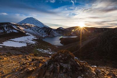 Mount Ngauruhoe and Upper Tama Lake at sunrise. Tongariro National Park