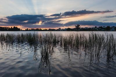 Lake Rotoroa and suburb at sunset, Hamilton