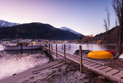 Jetty and moored yacht, winter evening, Lake Wakitipu, Queenstown