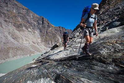 Two trampers above Douglas Lake, Westland Tai Poutini National Park