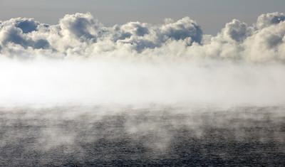 Fog over Lake Michigan - Carnegie Woods.  Naubinway, MI