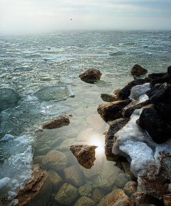 Morning Sun and Ice. - Naubinway Marina.  Naubinway, MI  -  March, 2012