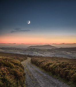 Crescent Moon above the Long Mynd