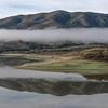 Lake with morning fog panorama