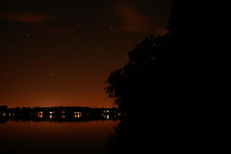 Crooked Lake at night