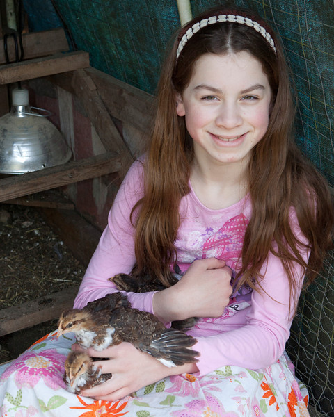 Claire with Chickens 001