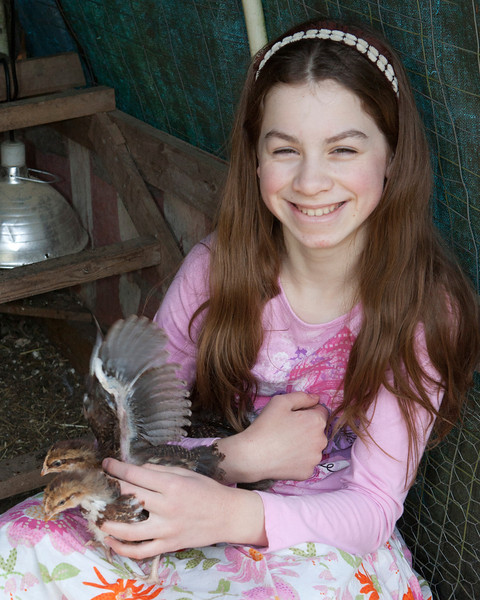 Claire with Chickens 002