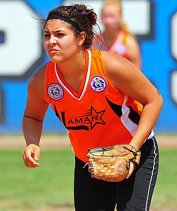 Lamar shortstop Brittany Gonzales stands poised for action during the 2014 Babe Ruth 16U Midwest Plains Regional played July 17-20 at Citizen's Field in Lamar.