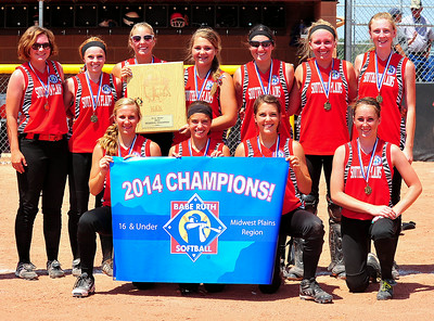 The Southern Plains team 16U All-Star softball team captured the championship in the 2014 Babe Ruth 16U Midwest Plains Regional Tournament held July 17-20 at Citizen's Field in Lamar. After losing to Lamar, 17-5, in the first game of the championship bracket on Sunday morning, Southern Plains won the game that counted the most with a 7-6 victory.  With the win, Southern Plains earned a berth to the 16U World Series to be played July 30 thru August 5 in Pittsfield, Mass. Members of the team include: Front row, l-r, Miranda Mitchek, Eads; Hadlie Rittgers, Eads; Kelcy Wollert, Wiley; and Brooklynn Jones, Eads. Back row, l-r, Mariah Priddy, Cheyenne Wells; Shayla Bogenhagen, Kit Carson; Brenna Rouse, Eads; Mindi Uhland, Eads;  Leah Osborn, Cheyenne Wells; Savanna Gyruman, Eads; and Macy Kennedy, Holly. Not pictured Mariah Smith, Eads. The team is coached by Chad Rouse and Holly Mitchek.