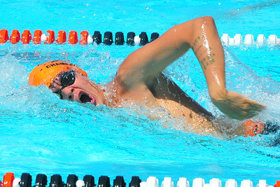 Lamarlins swimmer Ben Ludwig competes in the Boys Open 100 Yard Freestyle during the Valley Championships held at the Lamar Swimming Pool over the weekend.