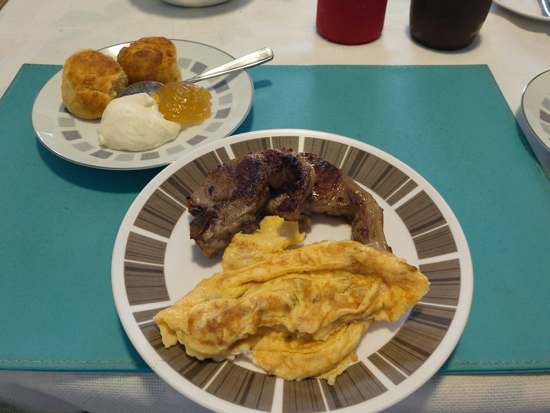 Lamb chops with eggs and scones