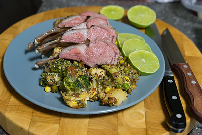 Saturday dinner. Sous vide rack of lamb with cheesy spicy vegetable bake.
