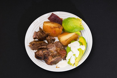 Roast lamb with potato, beetroot and avocado