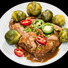 Roast lamb with Brussels sprouts and gravy