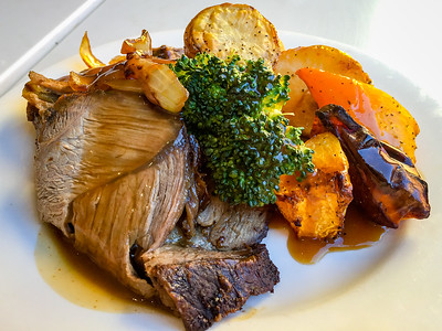 Roast lamb and vegetables