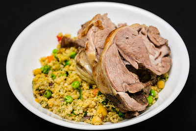Roast lamb with pearl barley couscous