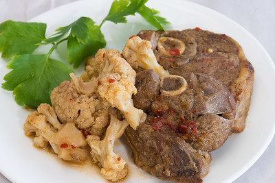 Lamb forequarter chops and cauliflower