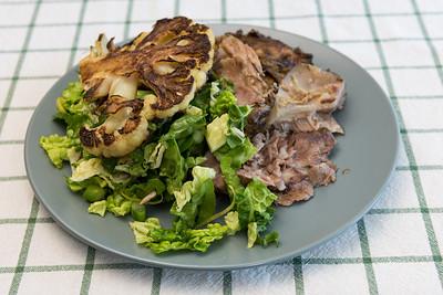 Roast lamb, cauliflower and salad